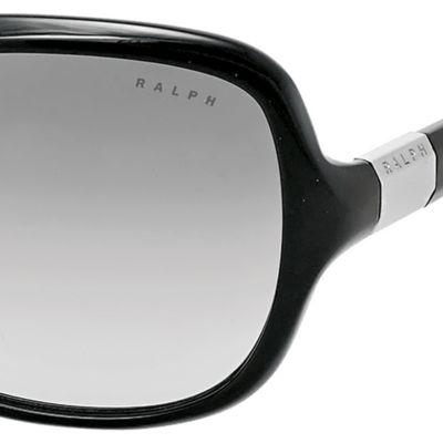Women: Ralph By Ralph Lauren Accessories: Black Ralph by Ralph Lauren Thin Frame Rectangle Sunglasses