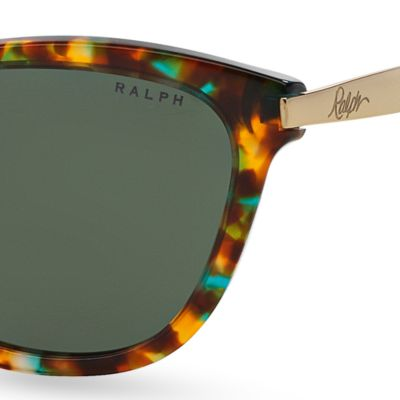 Women: Ralph By Ralph Lauren Accessories: Blue Tortoise Ralph by Ralph Lauren Havana Cateye Sunglasses