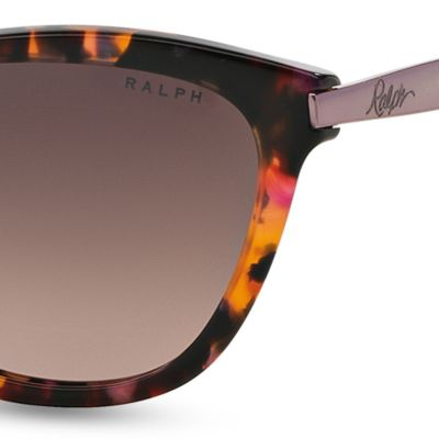 Women: Ralph By Ralph Lauren Accessories: Pink Tortoise Ralph by Ralph Lauren Havana Cateye Sunglasses