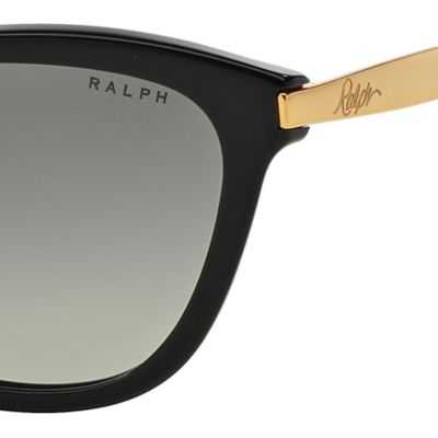 Women: Ralph By Ralph Lauren Accessories: Black Gold Ralph by Ralph Lauren Havana Cateye Sunglasses