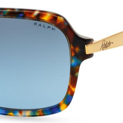 Women: Ralph By Ralph Lauren Accessories: Blue Tortoise Ralph by Ralph Lauren Extended Temple Sunglasses