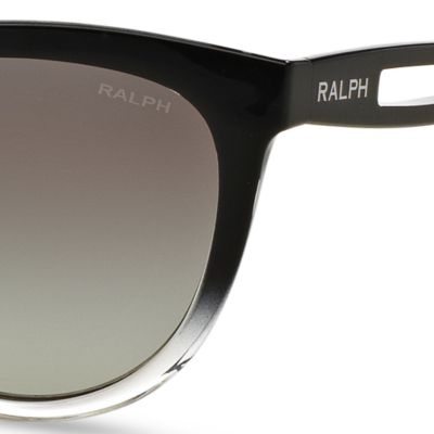 Women: Ralph By Ralph Lauren Accessories: Black Ralph by Ralph Lauren Vented Temple Cateye Sunglasses