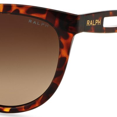Women: Ralph By Ralph Lauren Accessories: Tortoise Ralph by Ralph Lauren Vented Temple Cateye Sunglasses