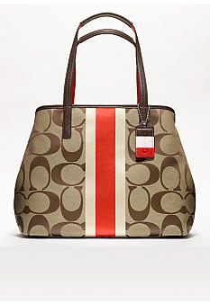 COACH HAMPTONS WEEKEND SIGNATURE STRIPE MEDIUM TOTE