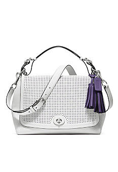 COACH LEGACY PERFORATED LEATHER ROMY TOP HANDLE