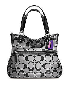 COACH POPPY SIGNATURE METALLIC OUTLINE HALLIE TOTE