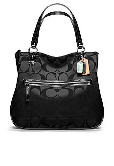 COACH POPPY SIGNATURE SATEEN HALLIE EAST WEST TOTE