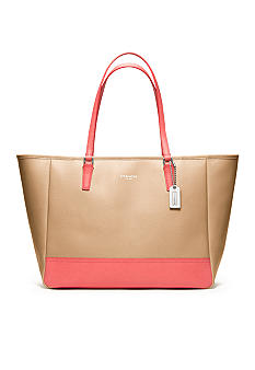 COACH COLORBLOCK SAFFIANO LEATHER MEDIUM NORTH/SOUTH TOTE