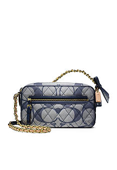 COACH POPPY QUILTED SIGNATURE C DENIM FLIGHT BAG