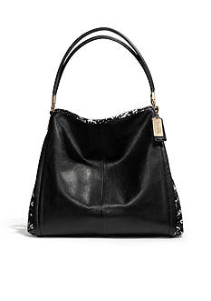 COACH MADISON PYTHON EMBOSSED LEATHER SMALL PHOEBE SHOULDER BAG