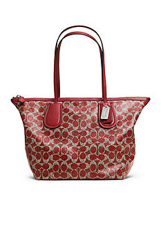 COACH SIGNATURE COATED CANVAS TAXI ZIP TOP TOTE