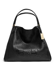 COACH PEBBLED LEATHER EMBOSSED HORSE AND CARRIAGE LARGE EDIE SHOULDER BAG