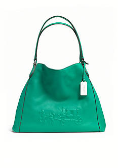 COACH PEBBLED LEATHER EMBOSSED HORSE AND CARRIAGE EDIE SHOULDER BAG