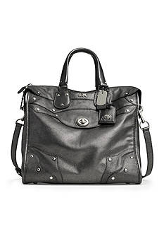 COACH METALLIC LEATHER RHYDER 33 SATCHEL