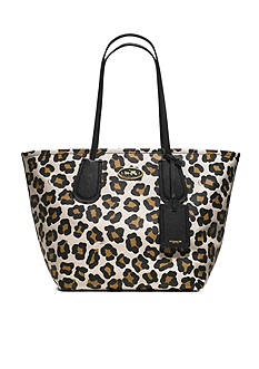 COACH OCELOT PRINT LEATHER TAXI TOTE