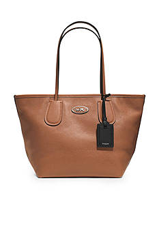 COACH LEATHER TAXI ZIP TOP TOTE