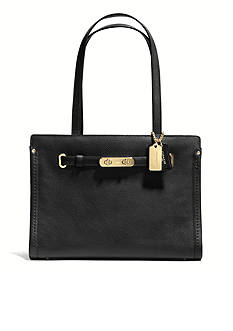 COACH POLISHED PEBBLE LEATHER SWAGGER SMALL TOTE