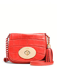COACH CROC EMBOSSED LEATHER LIV CROSSBODY