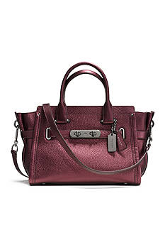 COACH METALLIC PEBBLE LEATHER SWAGGER 27 SATCHEL