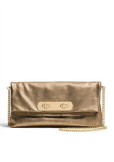 COACH METALLIC PEBBLE LEATHER SWAGGER CLUTCH