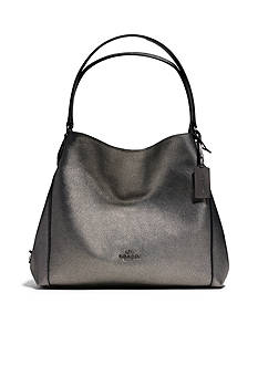 COACH EDIE SHOULDER BAG 31 IN METALLIC PEBBLE LEATHER