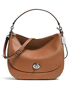 COACH PEBBLE LEATHER TURNLOCK HOBO BAG