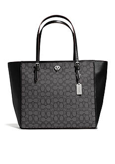 COACH SIGNATURE JACQUARD TURNLOCK TOTE
