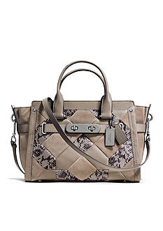 COACH PATCHWORK EXOTIC EMBOSSED LEATHER SWAGGER SATCHEL