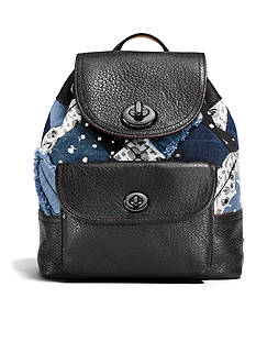 COACH MINI TURNLOCK RUCKSACK IN CANYON QUILT DENIM
