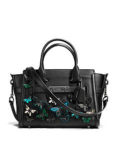 BUTTERFLY APPLIQUE COACH SWAGGER 27 CARRYALL IN GLOVETANNED LEATHER