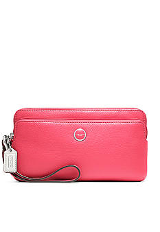 COACH POPPY LEATHER DOUBLE ZIP WALLET