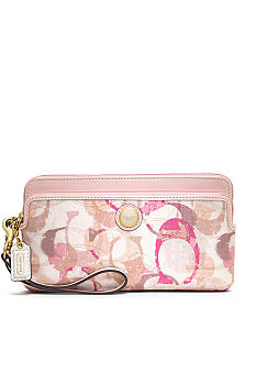 COACH POPPY STAMPED C DOUBLE ZIP WALLET