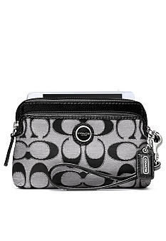 COACH POPPY SIGNATURE SATEEN METALLIC DOUBLE ZIP WRISTLET