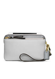 COACH POPPY COLORBLOCK LEATHER DOUBLE ZIP WRISTLET