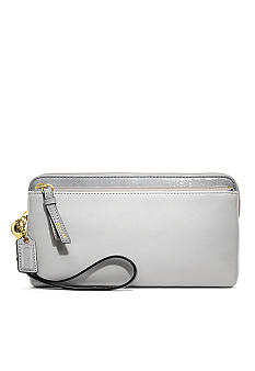 COACH POPPY COLORBLOCK LEATHER DOUBLE ZIP WALLET