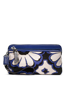 COACH POPPY FLORAL SCARF PRINT DOUBLE ZIP WALLET