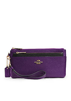 COACH EMBOSSED TEXTURED LEATHER ZIPPY WALLET WITH POP-UP POUCH