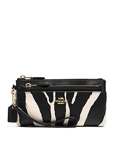 COACH ZEBRA PRINT LEATHER ZIPPY WALLET WITH POP-UP POUCH