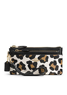 COACH OCELOT PRINT LEATHER ZIPPY WALLET WITH POP-UP POUCH