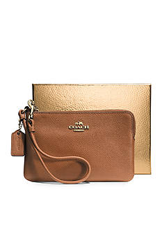COACH BOXED LEATHER EMBOSSED SMALL L-ZIP WRISTLET