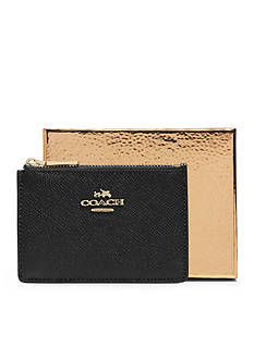 COACH BOXED EMBOSSED TEXTURED LEATHER MINI SKINNY WALLET