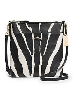 COACH ZEBRA PRINT LEATHER NORTH/SOUTH SWINGPACK