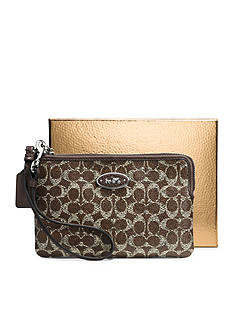 COACH BOXED SIGNATURE COATED CANVAS SMALL L-ZIP WRISTLET