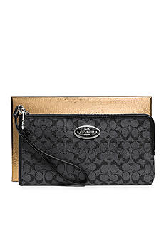 COACH BOXED SIGNATURE COATED CANVAS L-ZIP WALLET
