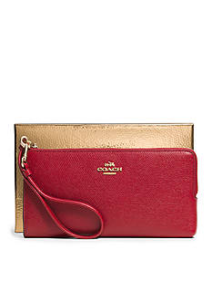 COACH BOXED EMBOSSED TEXTURED LEATHER L-ZIP WALLET