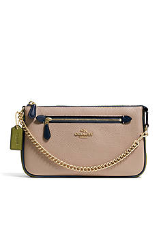 COACH COLORBLOCK PEBBLE LEATHER 24 NOLITA WRISTLET