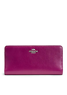 COACH COLORBLOCK LEATHER SKINNY WALLET