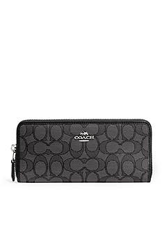 COACH SIGNATURE JACQUARD SLIM ACCORDION ZIP WALLET