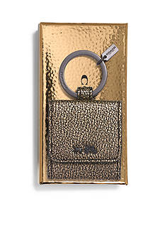 COACH BOXED METALLIC LEATHER PICTURE FRAME KEY RING