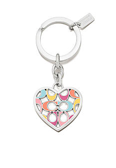 COACH SIGNATURE C PIERCED HEART KEY RING